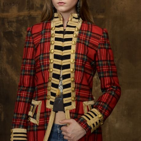 Denim Amp Supply Ralph Lauren Tartan Officers Coat In Red Lyst