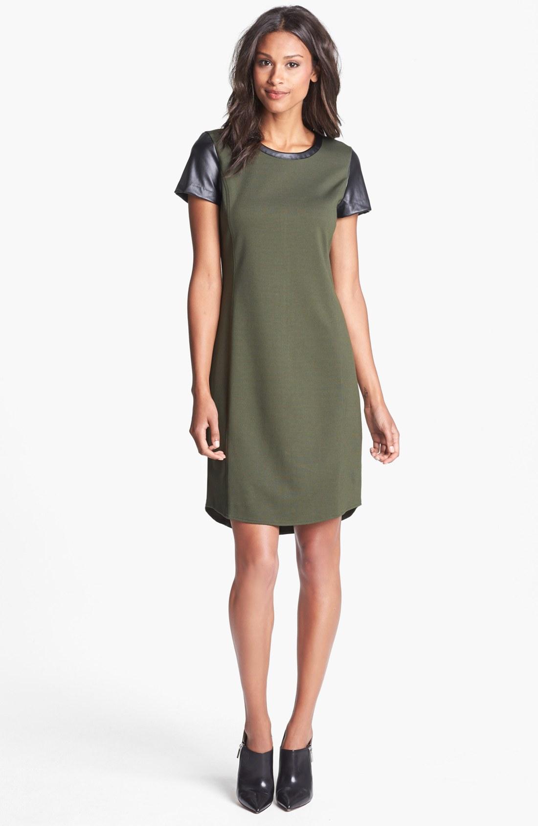 Dkny Faux Leather Sleeve Shift Dress in Green (Tourmaline ...