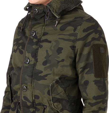 g star raw polar rain hooded parka jacket in green for men camo lyst. Black Bedroom Furniture Sets. Home Design Ideas