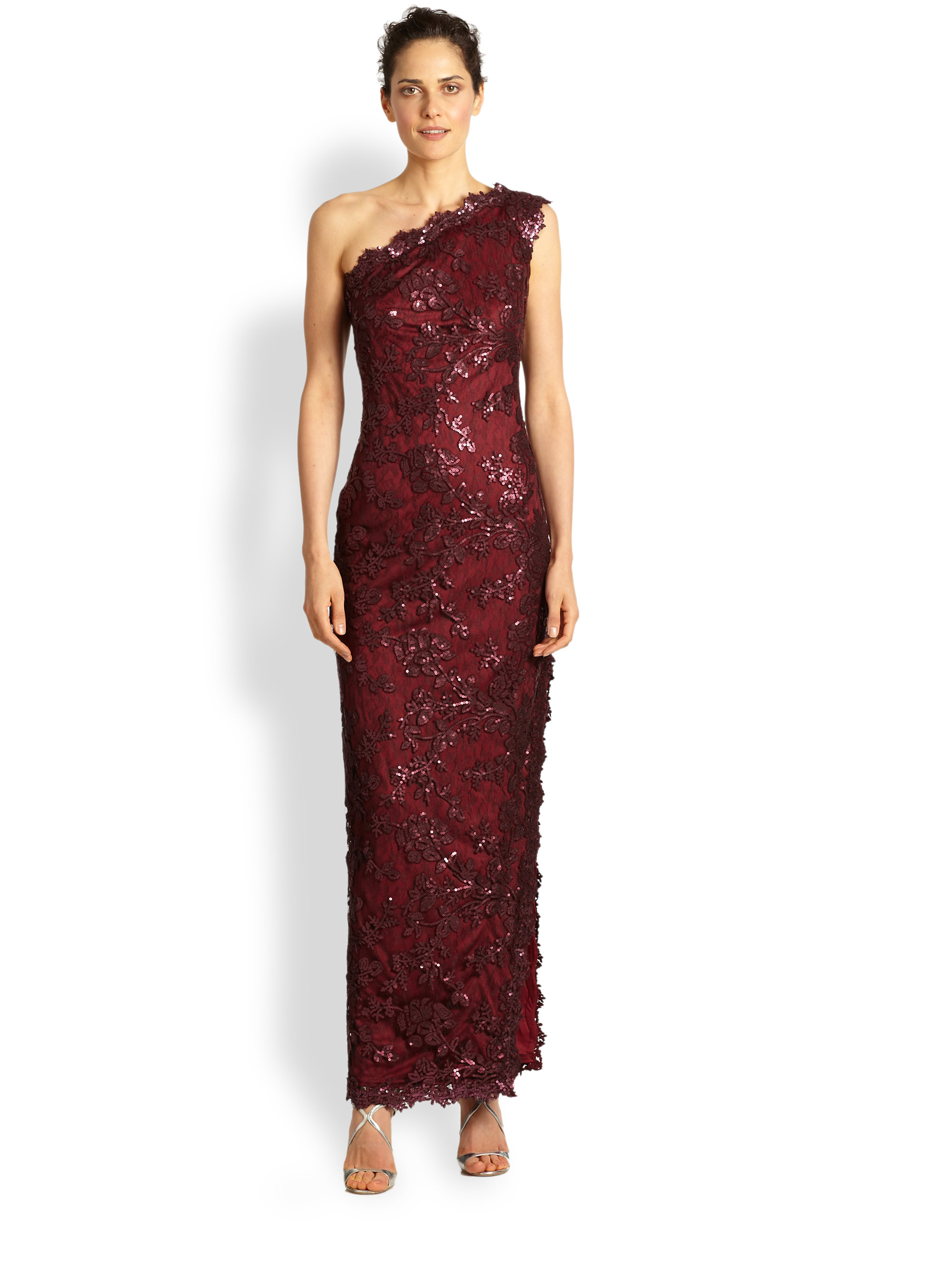 Tadashi shoji One-shoulder Lace/sequin Dress in Red | Lyst