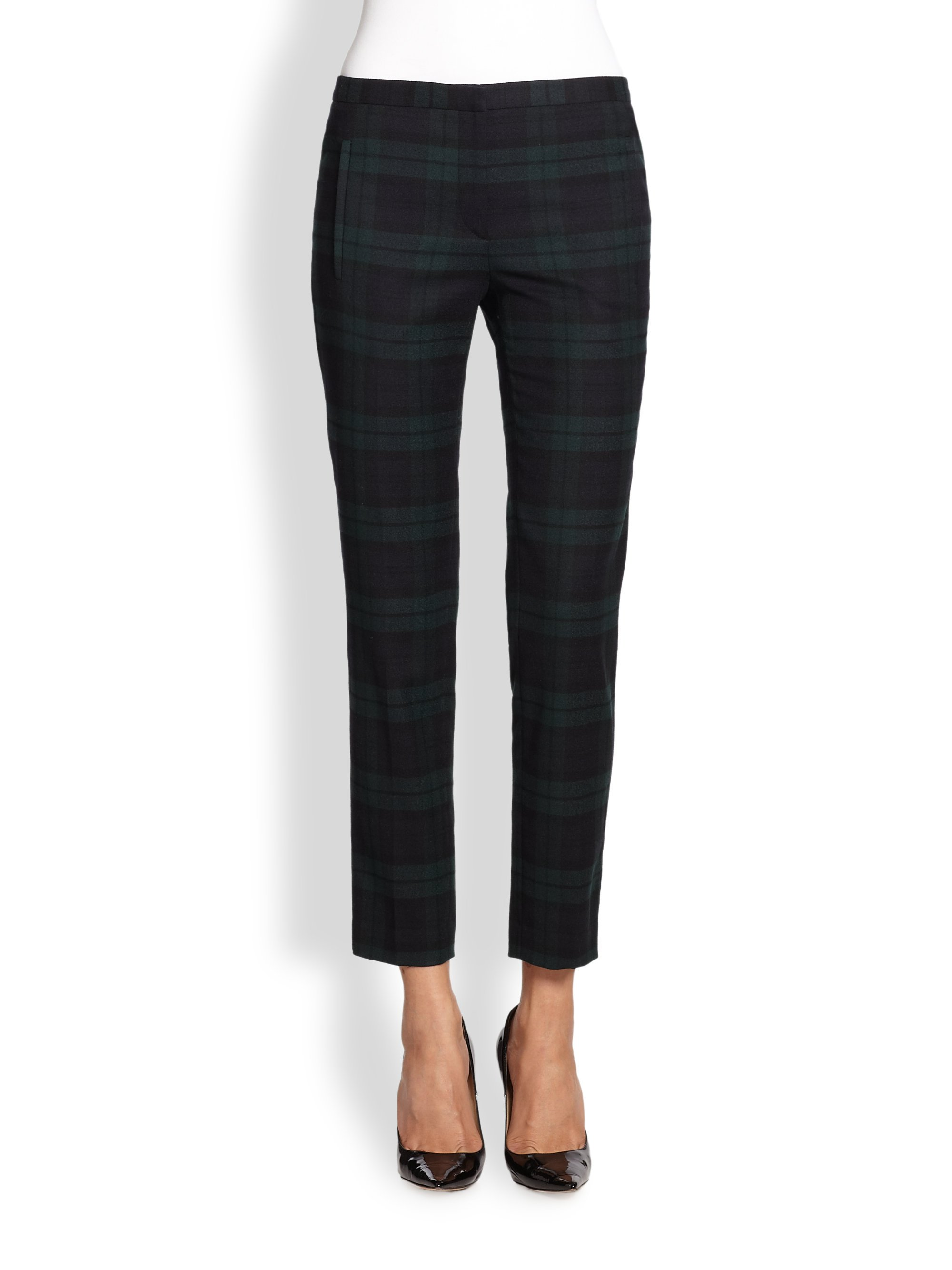 Theory Fia Linear Plaid Pants in Green | Lyst