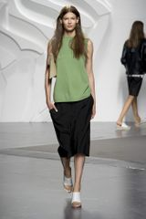 Tibi Spring 2014 Black Knee-Length Casual Skirt with Side Pockets
