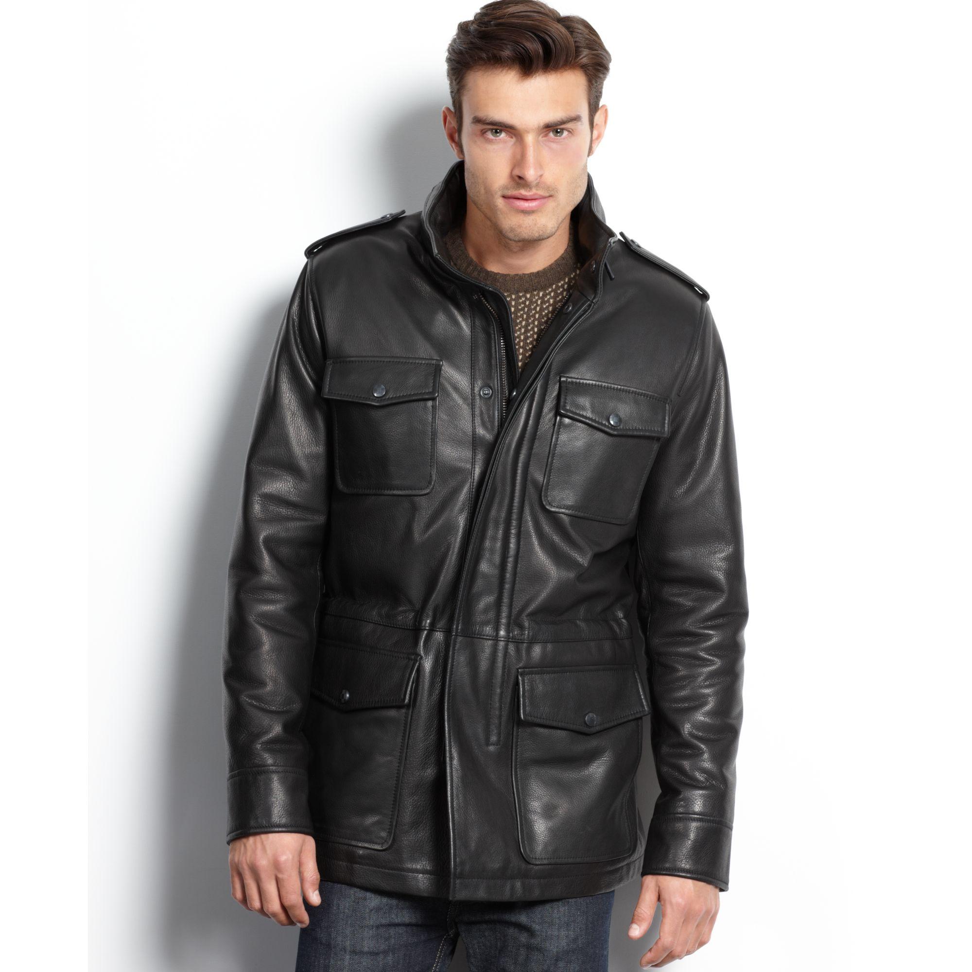 Vince Camuto Leather Four Pocket Car Coat In Black For Men