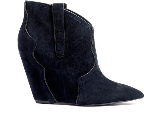 ash navy suede janet wedge cowboy boot in black lyst