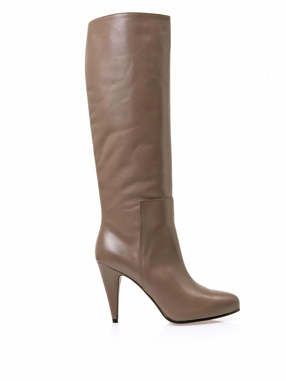 balenciaga new easy leather knee high boots in brown