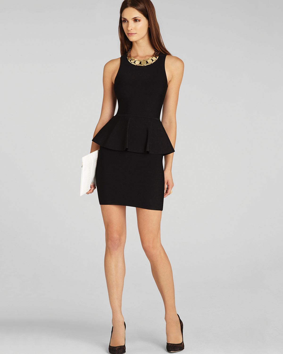 Lyst Bcbgmaxazria Dress Francis Layered Peplum In Black