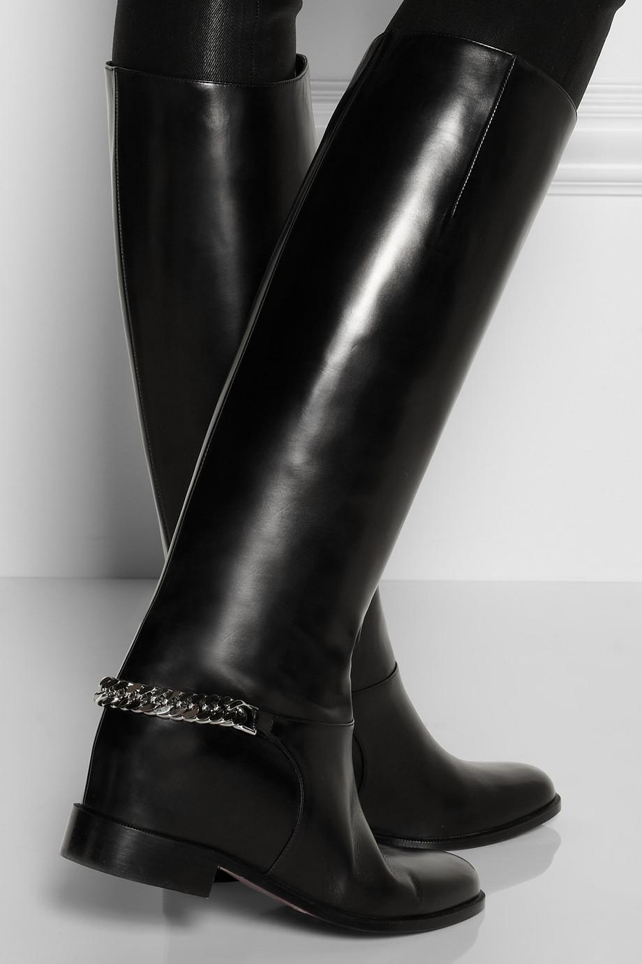 52303e6842c Artesur » christian louboutin Cate riding boots Black leather chain trim