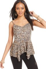 Guess Top Sleeveless Vneck Leopardprint Tank - Lyst