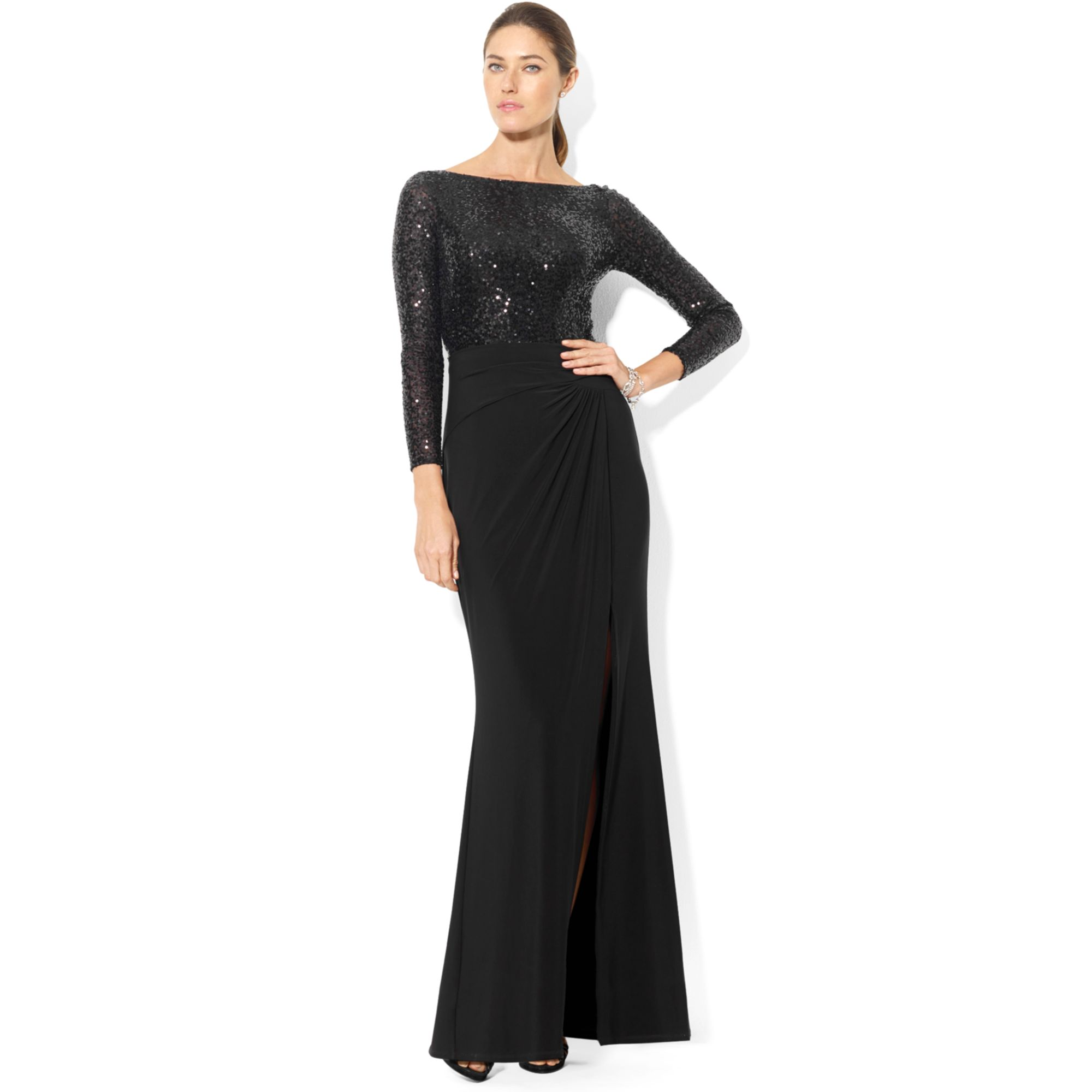 Lauren By Ralph Lauren Long Sleeve Sequin Gown In Black Lyst