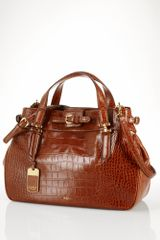 Lauren by Ralph Lauren Croc Embossed Satchel - Lyst