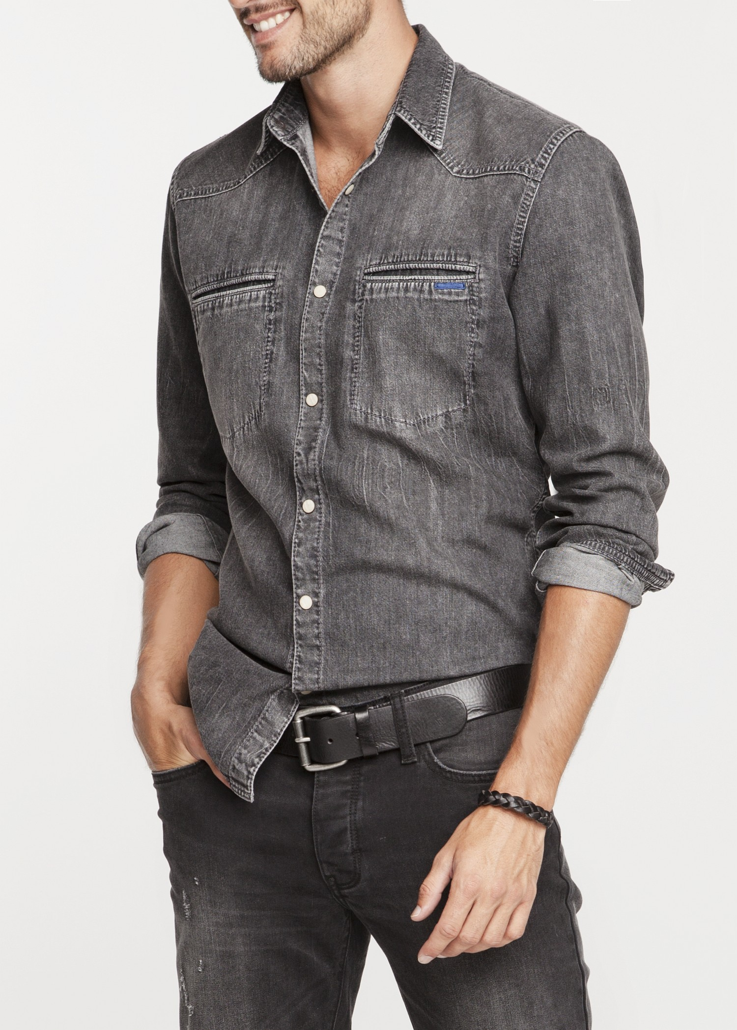 Lyst - Mango Slimfit Grey Denim Shirt in Gray for Men