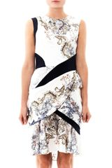 Prabal Gurung Baroqueprint Ruffle Silk Dress - Lyst