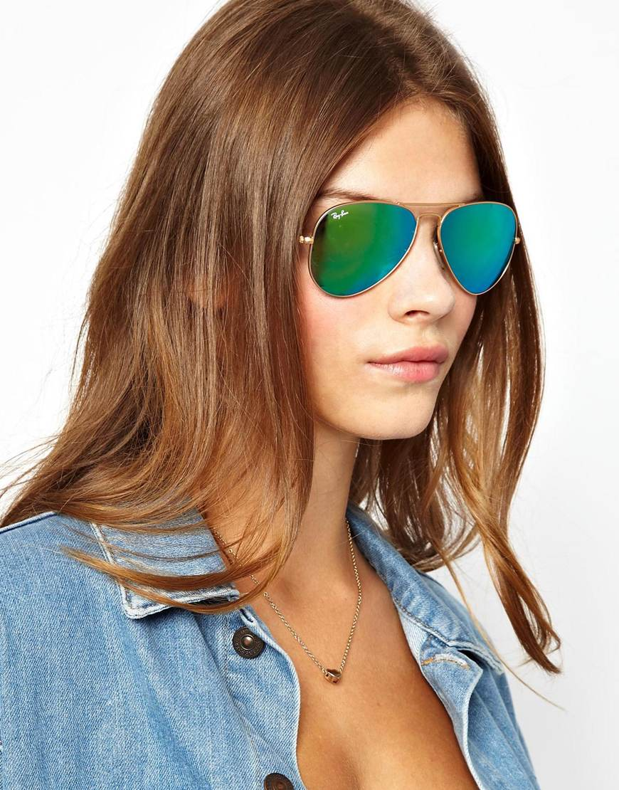 lyst asos rayban green mirrored aviator sunglasses in blue