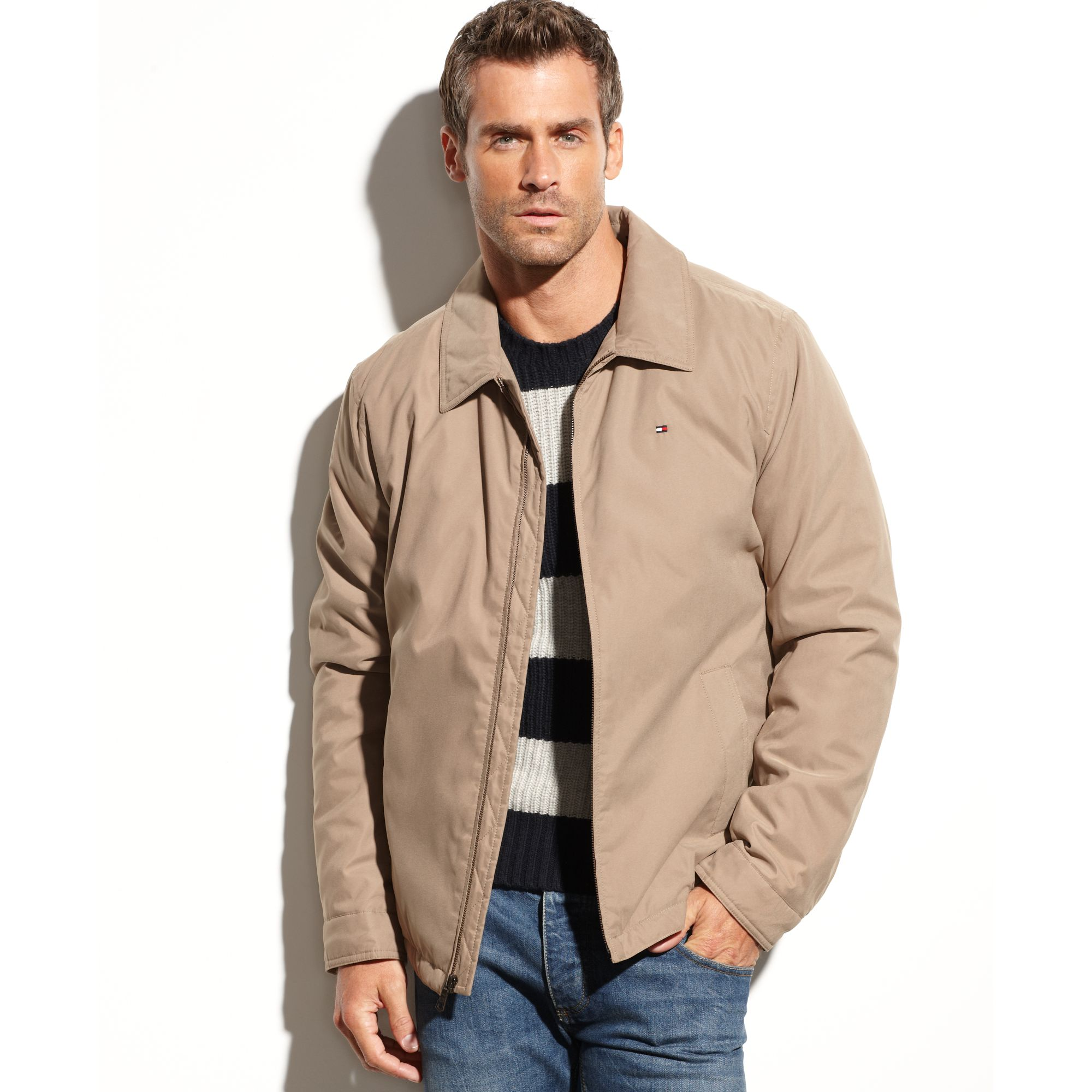 tommy hilfiger zipfront microtwill jacket in khaki for men lyst. Black Bedroom Furniture Sets. Home Design Ideas