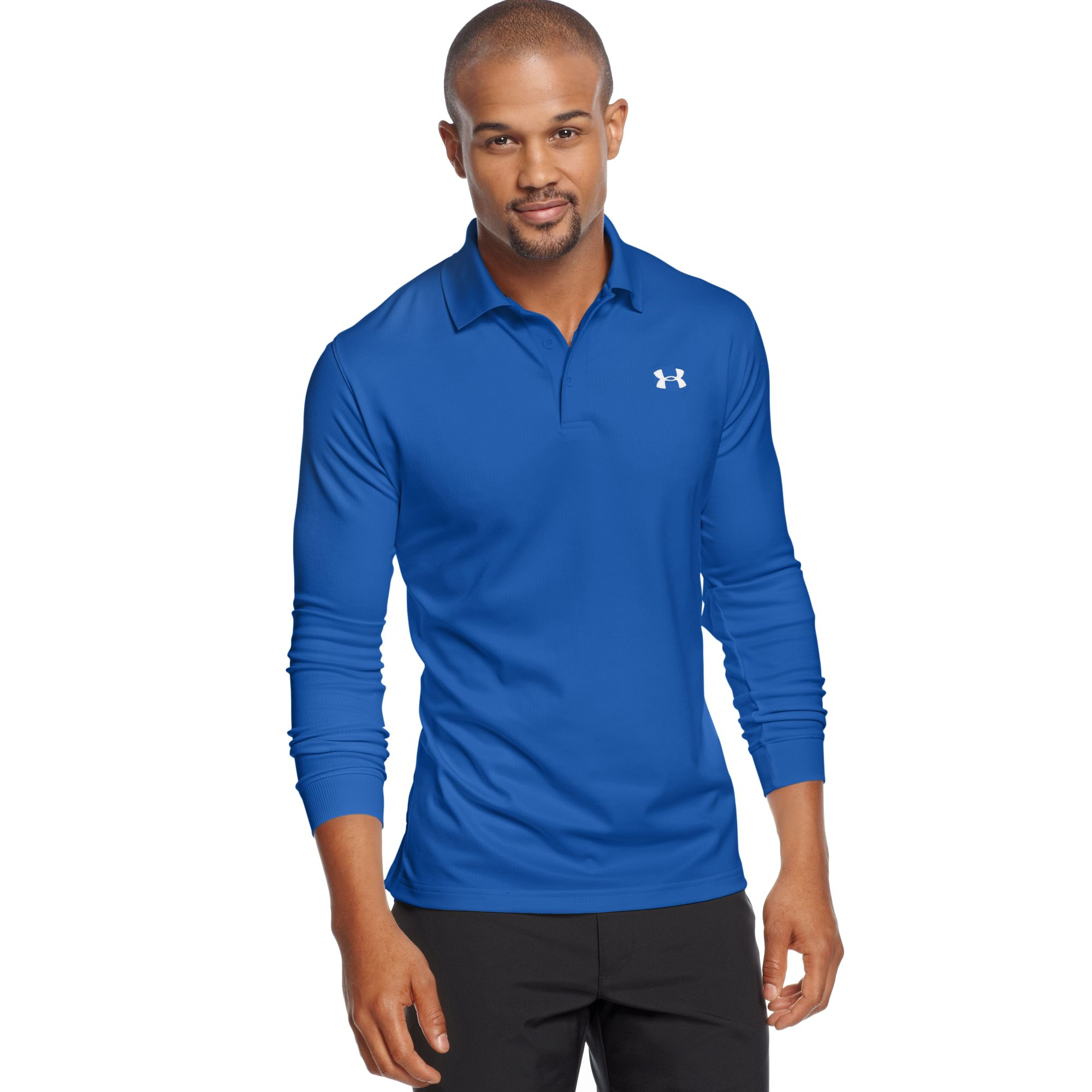 Lyst Under Armour Longsleeve Performance Polo Shirt In Blue For Men
