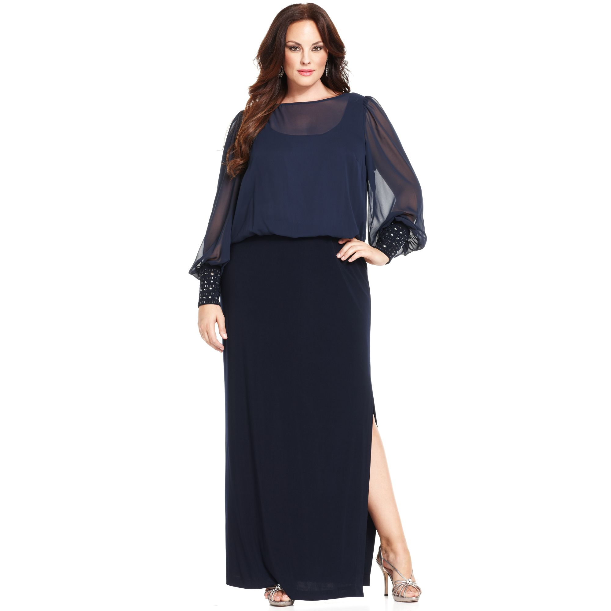 Lyst - Xscape Plus Size Dress Longsleeve Blouson Gown in Blue