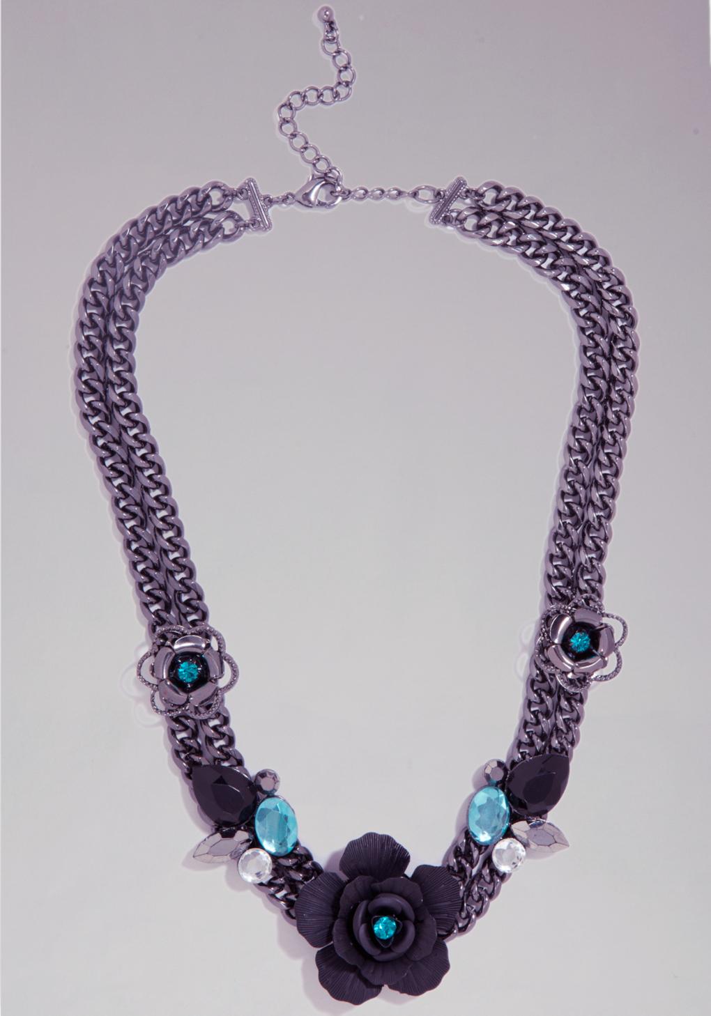 bebe flower necklace in purple lyst