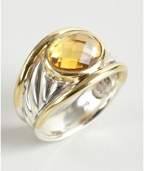 david yurman gold and silver carved cable citrine