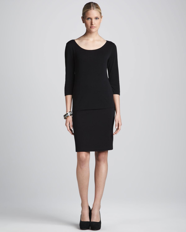 eileen fisher ponte kneelength pencil skirt in black lyst