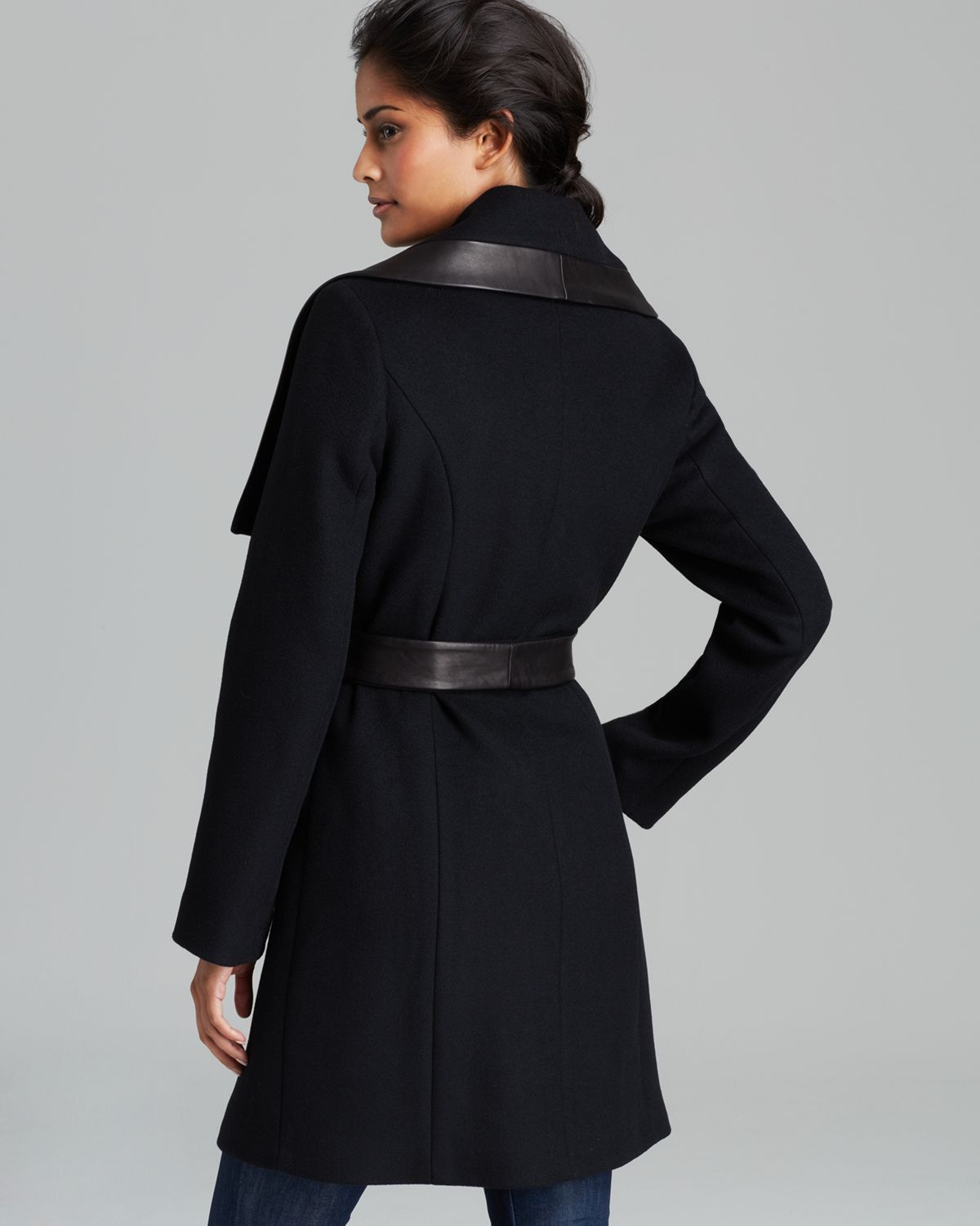 Elie tahari Coat - Marina Leather Trim Belted in Black | Lyst