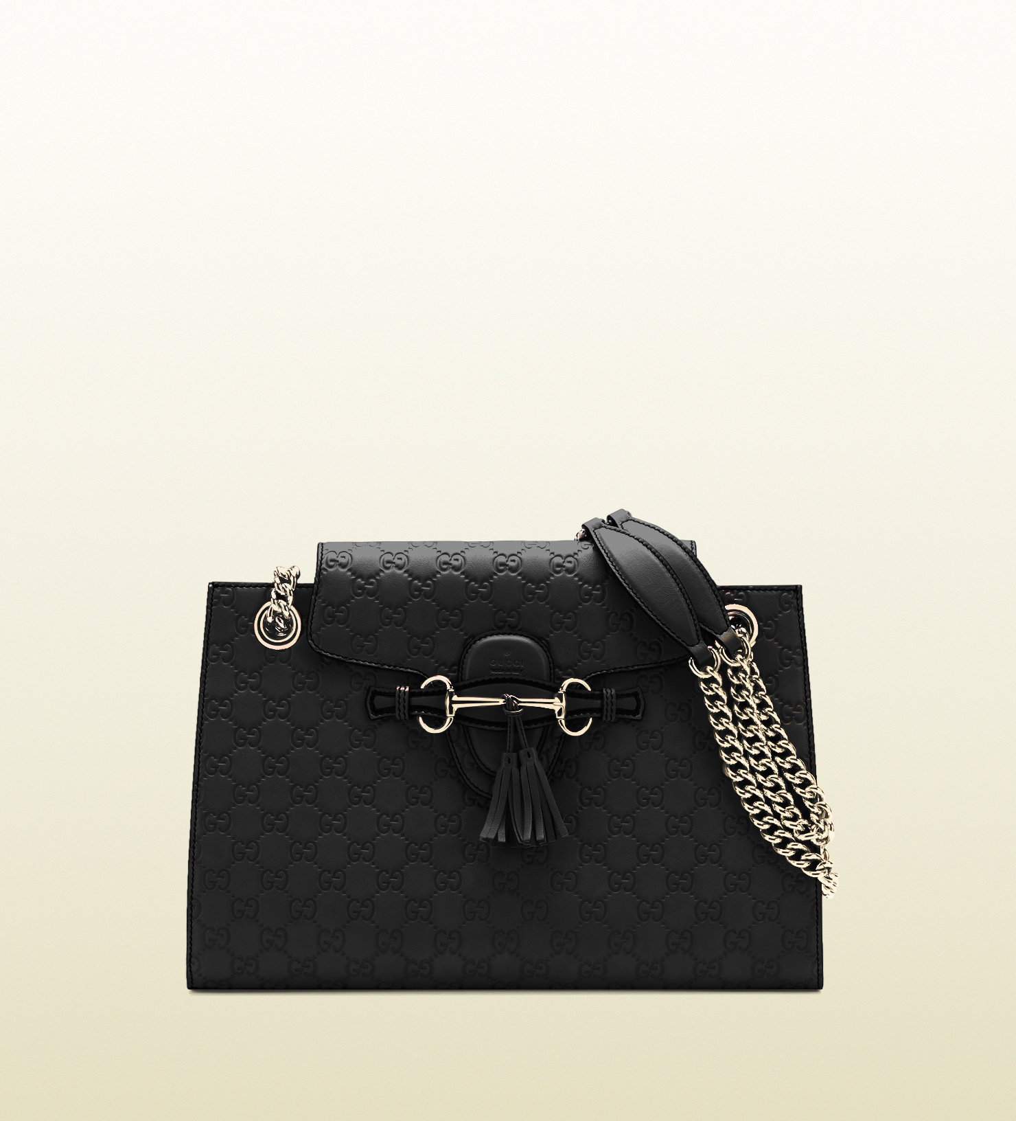 1068bf5d913 Lyst - Gucci Emily Ssima Leather Chain Shoulder Bag in Black
