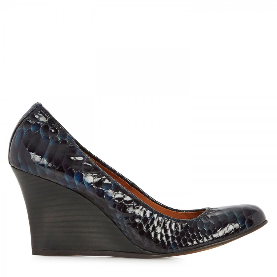 Lanvin Snake Effect Patent Leather Wedge Pumps in Blue ...