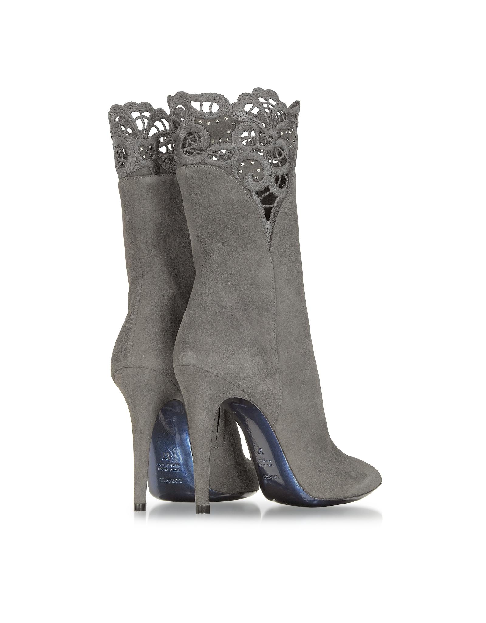 loriblu gray suede high heel bootie in gray lyst