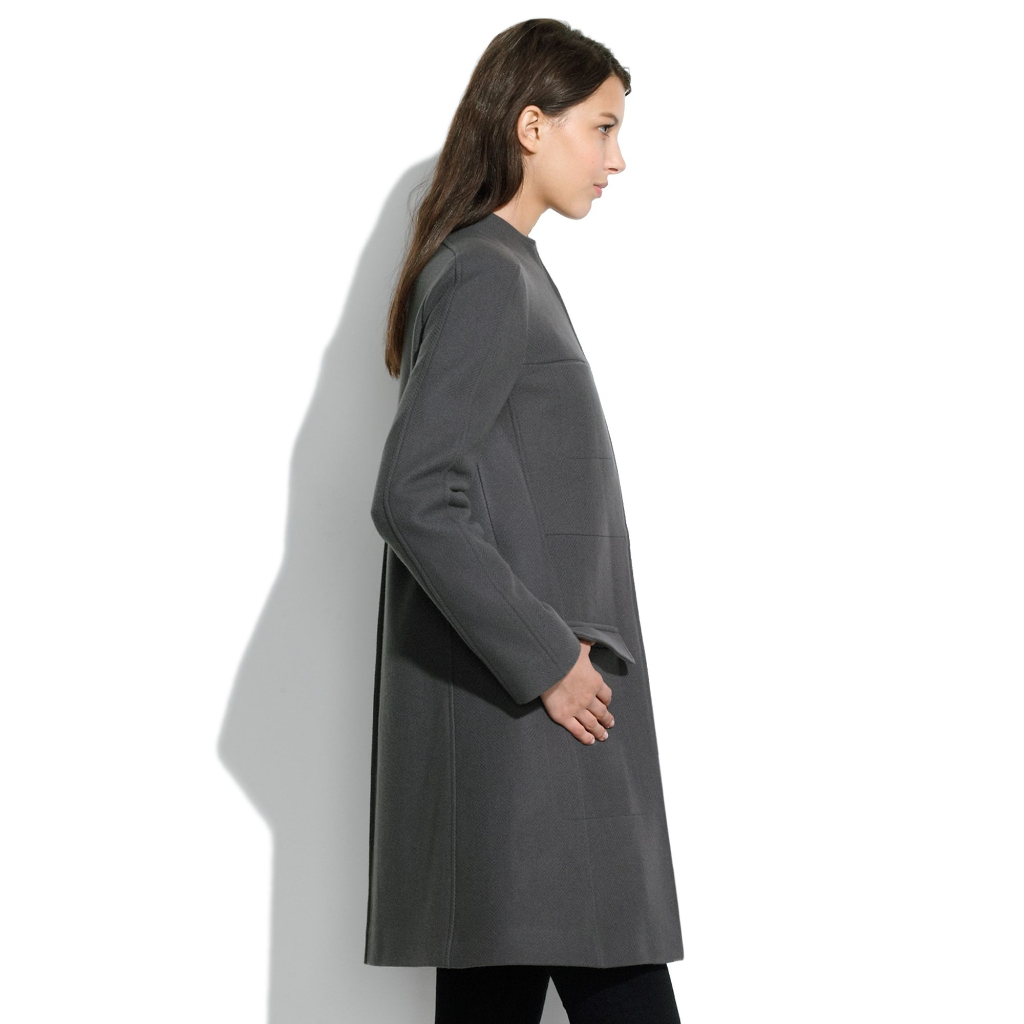 Madewell Short Collar Zip Coat in Gray | Lyst