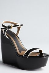 Marni Black and White Patent Leather Platform Wedge Sandals - Lyst