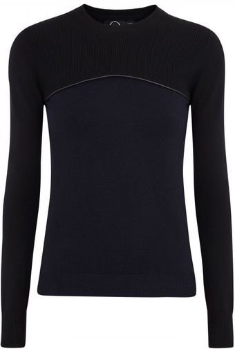 McQ by Alexander McQueen Two Tone Stretch Wool Blend Jumper - Lyst