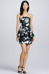Milly Printed Strapless Peplum Dress - Lyst