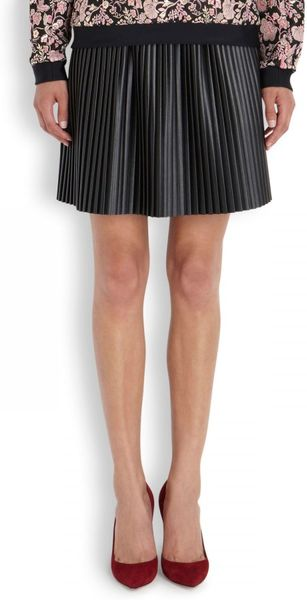 msgm pleated faux leather mini skirt in black lyst