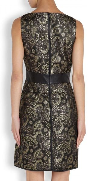 Raoul Natasha Leather Trimmed Floral Brocade Dress In Gray