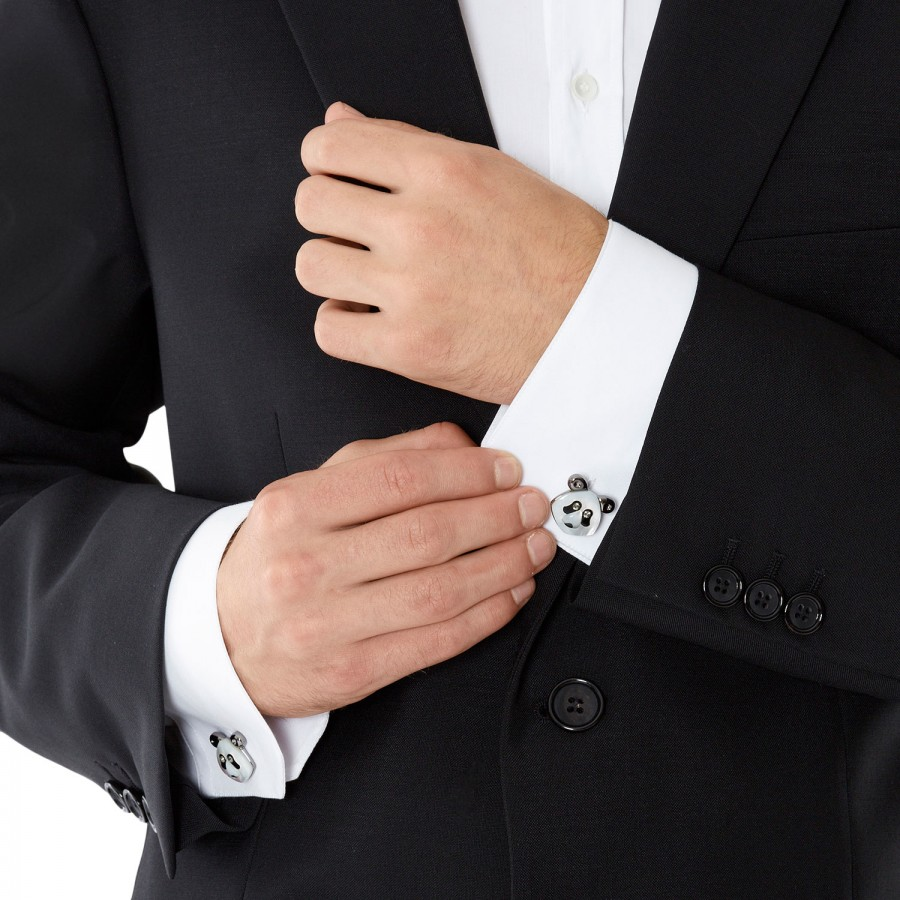 afee31056e6b Simon Carter Swarovski Crystal Panda Cufflinks in White for Men - Lyst