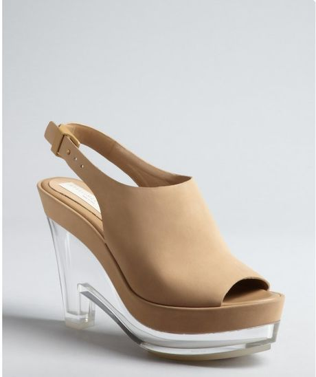 stella mccartney khaki faux leather and lucite wedge