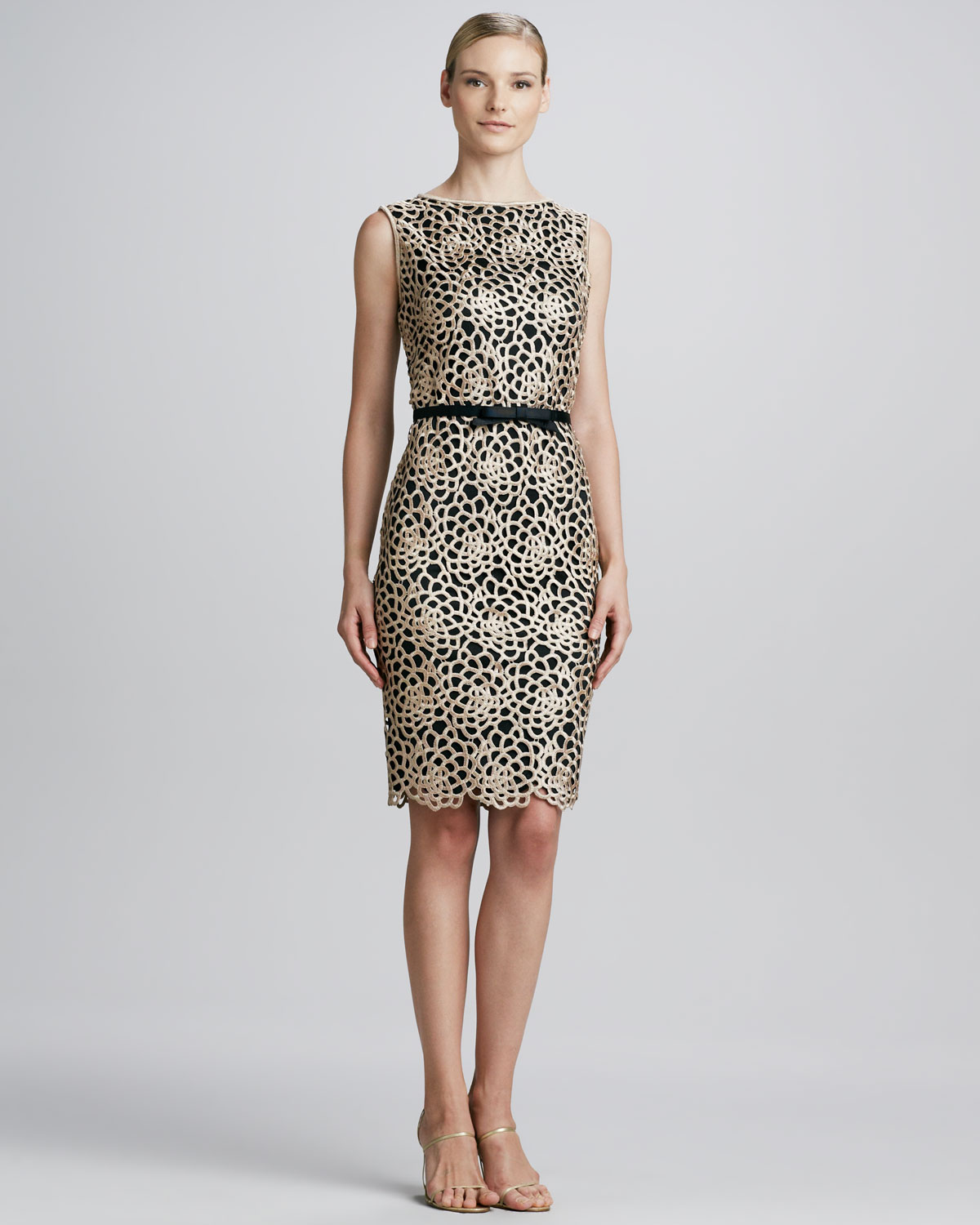 Tadashi shoji Guipure Lace Belted Cocktail Dress in Gray   Lyst
