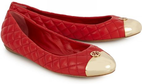 Tory Burch Kaitlin Quilted Leather Ballet Flats In Red Lyst