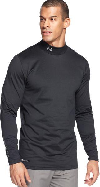 Under armour mock neck longsleeve ua golf coldgear shirt for Mock crew neck shirts