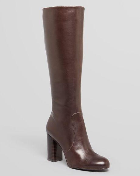 via spiga boots caleb high heel in brown lyst