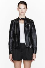 3.1 Phillip Lim Black Nappa Leather Peplum Biker Jacket - Lyst