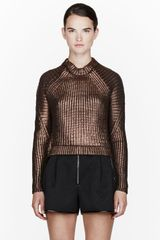 3.1 Phillip Lim Metallic Copper Ribbed Sweater - Lyst