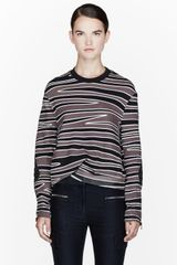 3.1 Phillip Lim Dark Taupe and Black Biker-sleeve Zebra Print Sweatshirt - Lyst