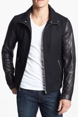 7 Diamonds Pagani Wool Jacket with Leather Sleeves - Lyst