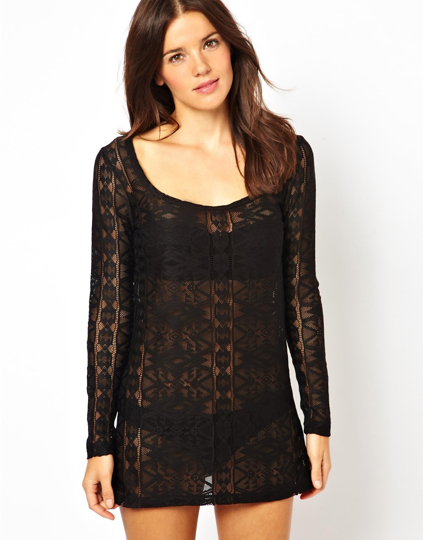 Lyst Toms Asos Long Sleeve Lace Beach Dress In Black