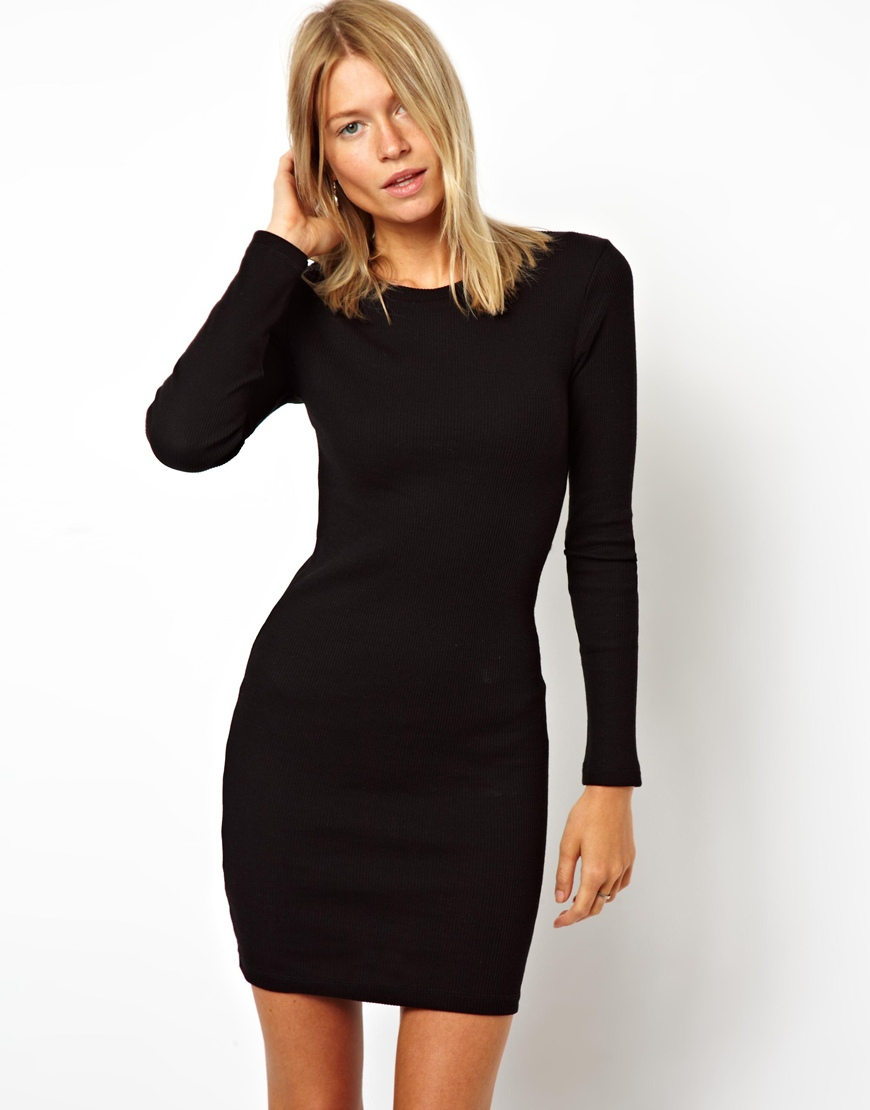 Asos Mini Ribbed Bodycon Dress with Long Sleeve in Black | Lyst