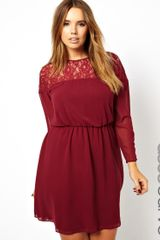 Asos Curve Skater Dress with Lace Batwing - Lyst