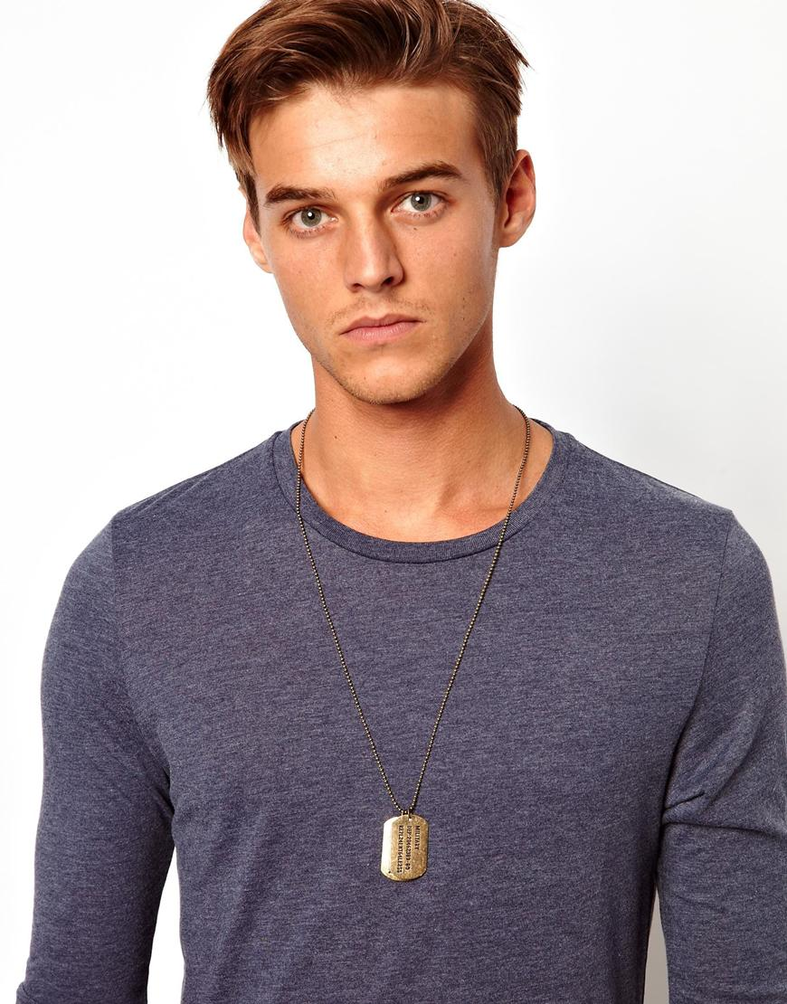 Lyst Asos Dog Tag Necklace in Metallic for Men