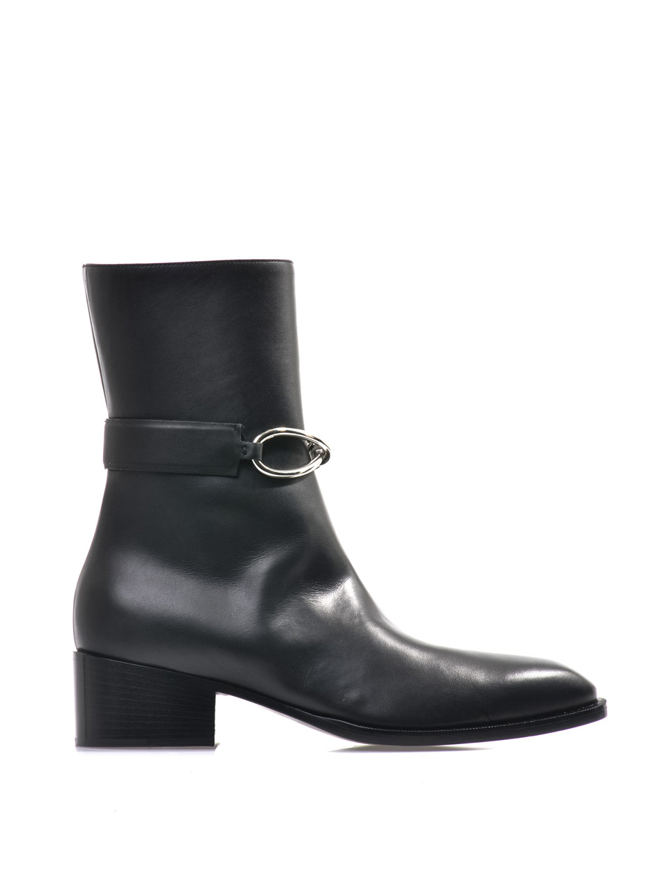 balenciaga block heel leather ankle boots in black lyst