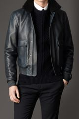 Burberry Shearling Collar Leather Blouson - Lyst