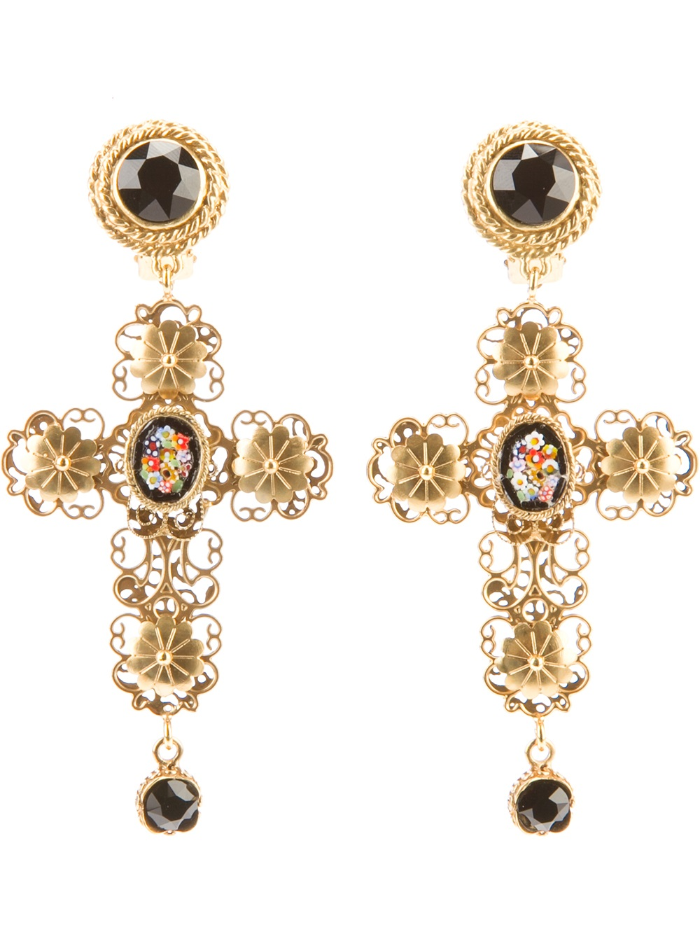 Dolce & Gabbana Cross Earrings in Gold